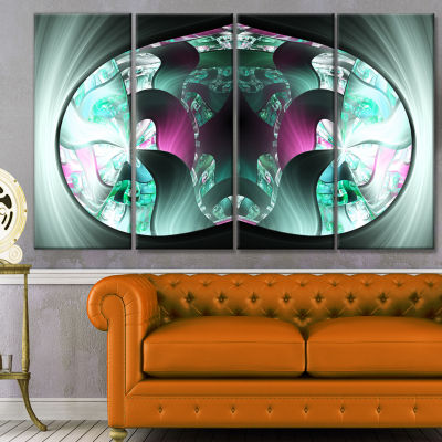 Grey Capsule In Plasma Abstract Canvas Art Print -4 Panels