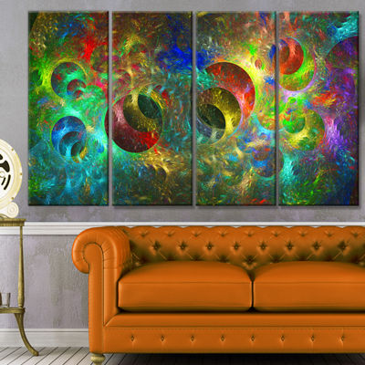Multi Color Glowing Circles Abstract Canvas Art Print - 4 Panels