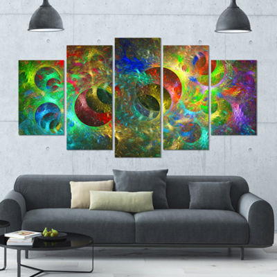 Multi Color Glowing Circles Contemporary Canvas Art Print - 5 Panels