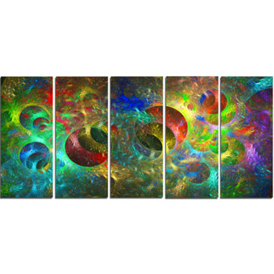Multi Color Glowing Circles Abstract Canvas Art Print - 5 Panels