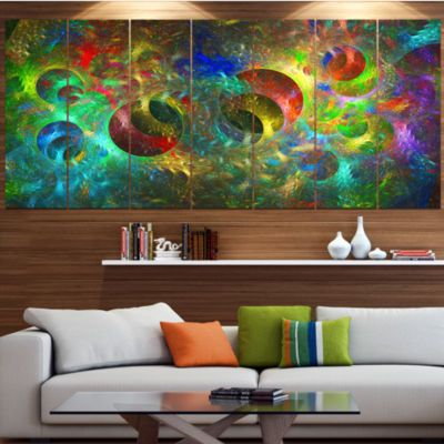 Multi Color Glowing Circles Abstract Canvas Art Print - 7 Panels