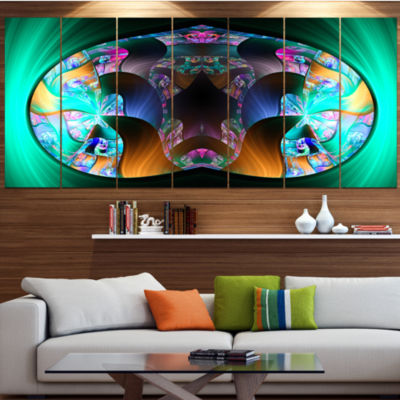 Blue Capsule In Plasma Abstract Canvas Art Print -4 Panels