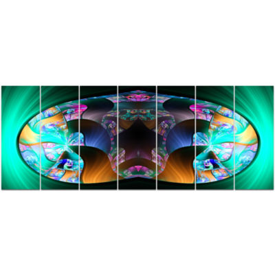 Blue Capsule In Plasma Abstract Canvas Art Print -7 Panels