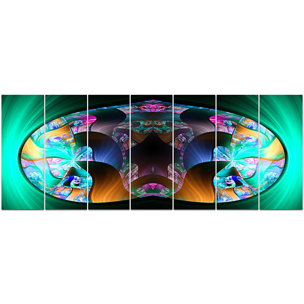 Design Art Blue Capsule In Plasma Abstract CanvasArt Print -7 Panels