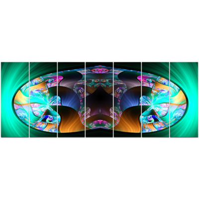 Designart Blue Capsule In Plasma Abstract CanvasArt Print -7 Panels