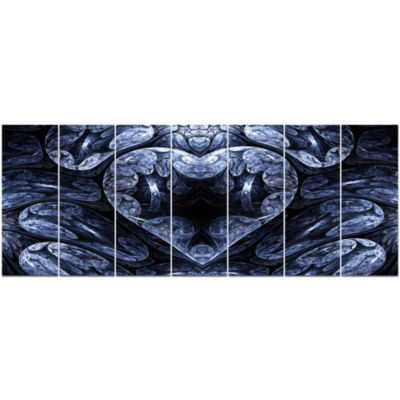 Cold Mystical Fractal Heart Abstract Canvas Art Print - 7 Panels