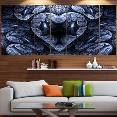 Designart Cold Mystical Fractal Heart Abstract Canvas Art Print - 7 Panels