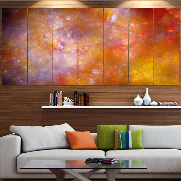 Yellow Starry Fractal Sky Abstract Canvas Art Print - 4 Panels