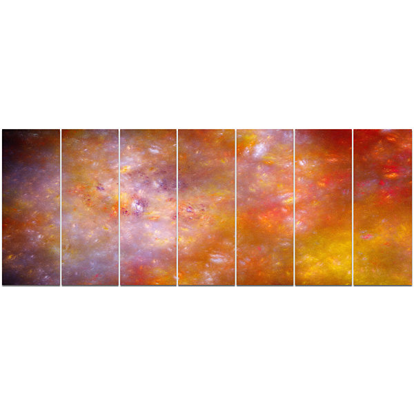 Yellow Starry Fractal Sky Abstract Canvas Art Print - 7 Panels