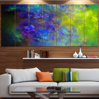 Designart Blue Green Starry Fractal Sky AbstractCanvas ArtPrint - 6 Panels
