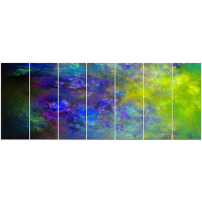 Designart Blue Green Starry Fractal Sky AbstractCanvas ArtPrint - 7 Panels