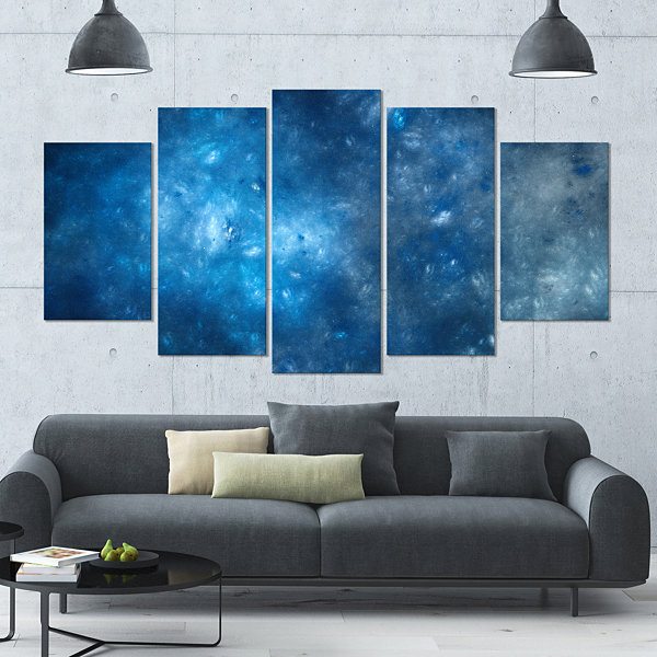 Design Art Clear Blue Starry Fractal Sky Contemporary CanvasArt Print - 5 Panels