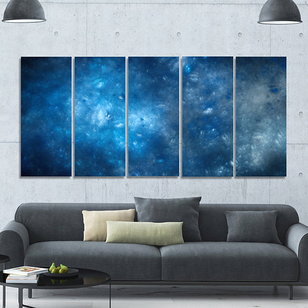 Designart Clear Blue Starry Fractal Sky AbstractCanvas ArtPrint - 5 Panels