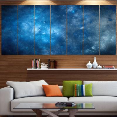 Designart Clear Blue Starry Fractal Sky AbstractCanvas ArtPrint - 6 Panels