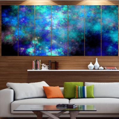 Light Blue Starry Fractal Sky Contemporary CanvasArt Print - 4 Panels