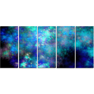 Light Blue Starry Fractal Sky Contemporary CanvasArt Print - 5 Panels