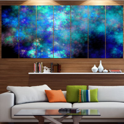 Light Blue Starry Fractal Sky Contemporary CanvasArt Print - 7 Panels