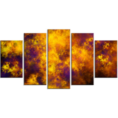 Designart Cloudy Orange Starry Fractal Sky Contemporary Canvas Art Print - 5 Panels