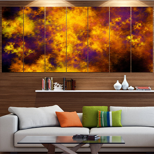 Designart Cloudy Orange Starry Fractal Sky Abstract Canvas Art Print - 5 Panels