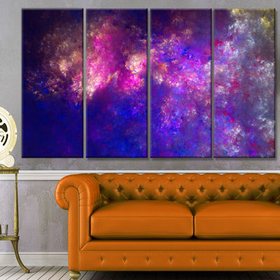 Designart Clear Purple Starry Fractal Sky AbstractCanvas Art Print - 4 Panels