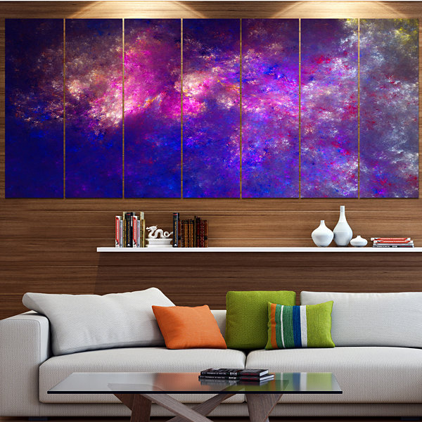 Design Art Clear Purple Starry Fractal Sky Abstract Canvas Art Print - 7 Panels