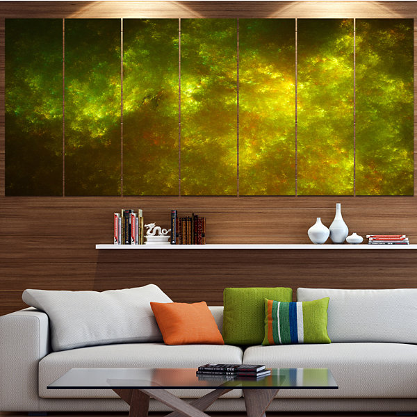 Design Art Clear Golden Starry Fractal Sky Contemporary Canvas Art Print - 5 Panels