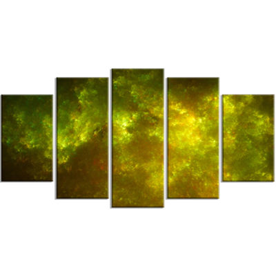 Designart Clear Golden Starry Fractal Sky Contemporary Canvas Art Print - 5 Panels