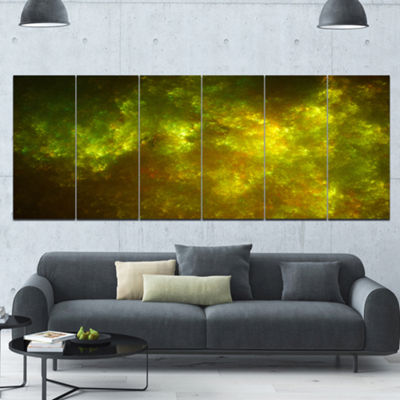Designart Clear Golden Starry Fractal Sky AbstractCanvas Art Print - 6 Panels
