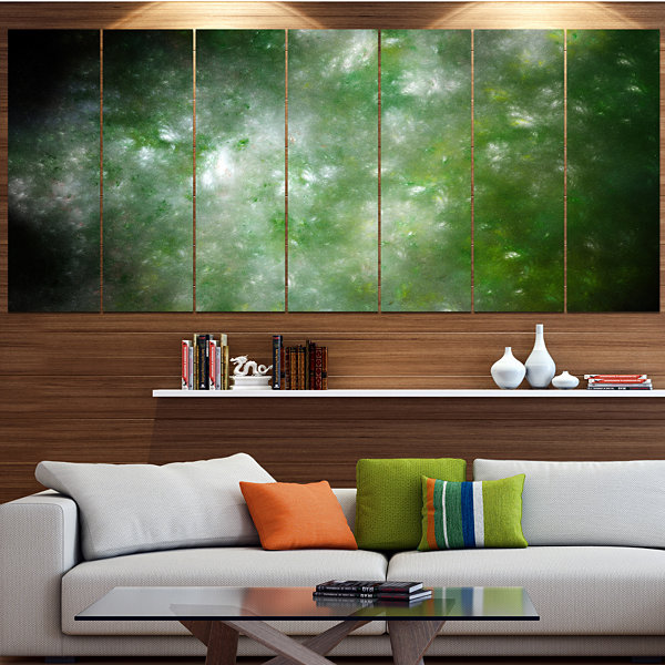 Designart Blur Green Starry Fractal Sky AbstractCanvas ArtPrint - 7 Panels