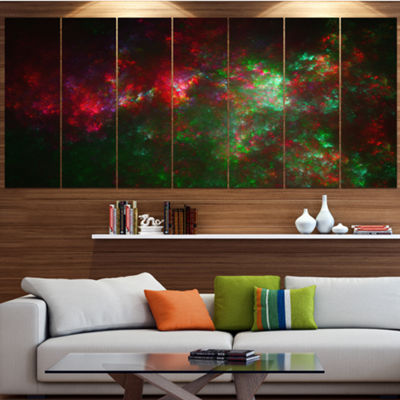 Multi Color Starry Fractal Sky Abstract Canvas ArtPrint - 4 Panels