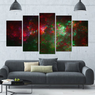 Multi Color Starry Fractal Sky Contemporary CanvasArt Print - 5 Panels