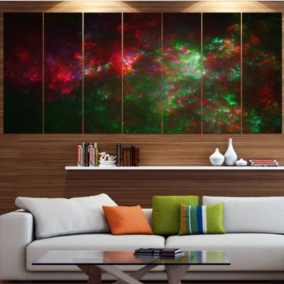 Multi Color Starry Fractal Sky Abstract Canvas ArtPrint - 5 Panels