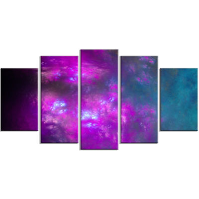 Purple Blue Starry Fractal Sky Contemporary CanvasArt Print - 5 Panels
