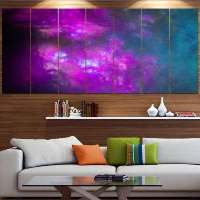 Purple Blue Starry Fractal Sky Abstract Canvas ArtPrint - 5 Panels