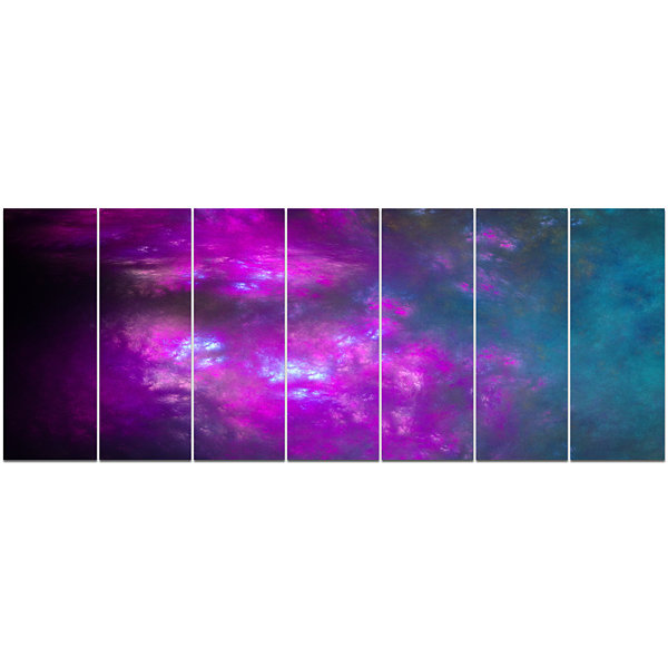 Purple Blue Starry Fractal Sky Abstract Canvas ArtPrint - 7 Panels