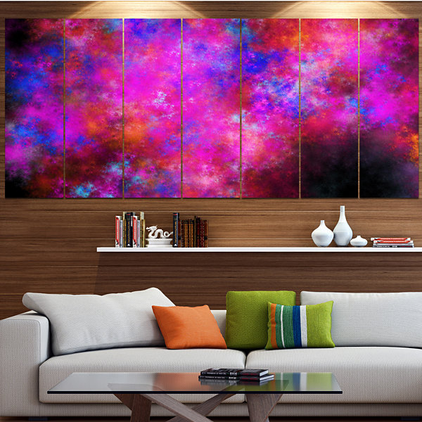 Red Blue Starry Fractal Sky Abstract Art On Canvas- 6 Panels