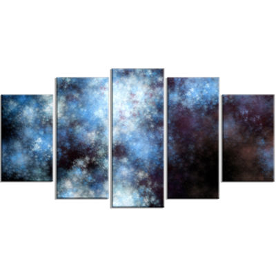 Designart Blue White Starry Fractal Sky Contemporary Art OnCanvas - 5 Panels