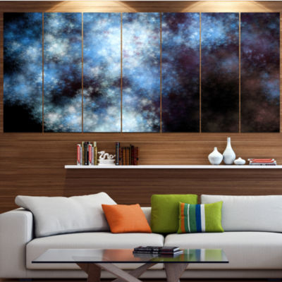 Blue White Starry Fractal Sky Abstract Art On Canvas - 7 Panels