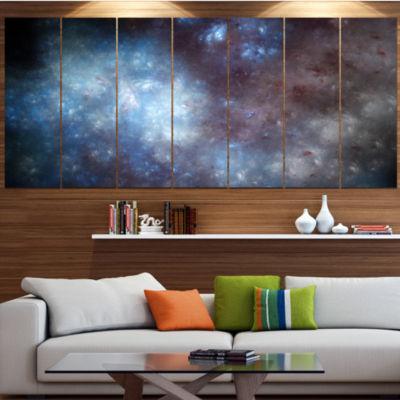 Designart Blue Grey Starry Fractal Sky Abstract Art On Canvas - 4 Panels