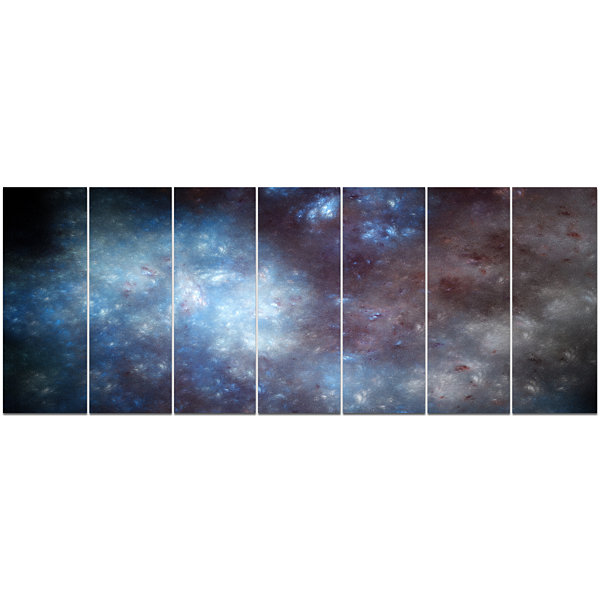 Designart Blue Grey Starry Fractal Sky Abstract Art On Canvas - 7 Panels