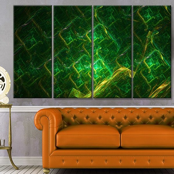 Green Fractal Electric Lightning Abstract Art On Canvas - 4 Panels