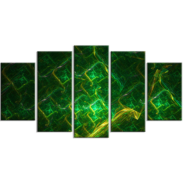 Green Fractal Electric Lightning Contemporary ArtOn Canvas - 5 Panels