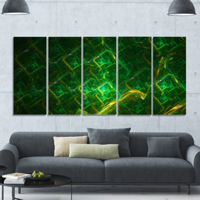 Green Fractal Electric Lightning Abstract Art On Canvas - 5 Panels