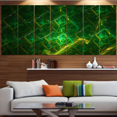 Green Fractal Electric Lightning Abstract Art On Canvas - 7 Panels