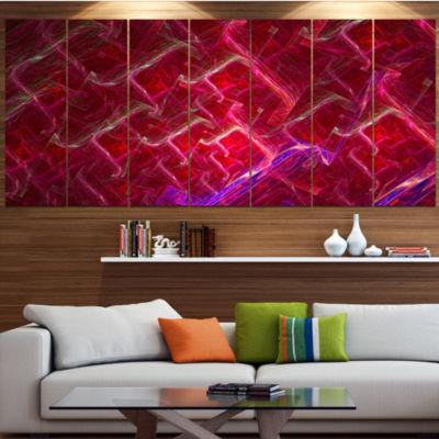Red Fractal Electric Lightning Contemporary Art OnCanvas - 5 Panels