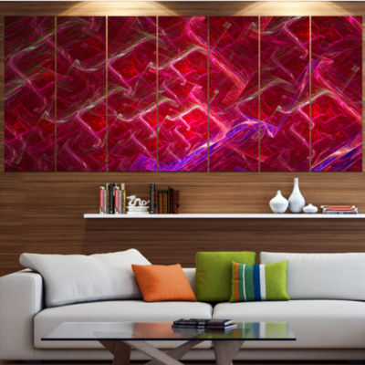 Red Fractal Electric Lightning Abstract Art On Canvas - 7 Panels