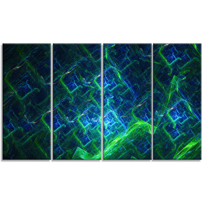 Green Blue Electric Lightning Abstract Art On Canvas - 4 Panels