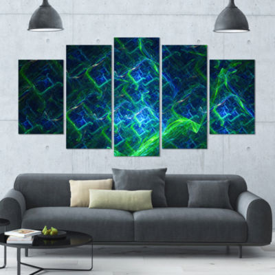 Green Blue Electric Lightning Contemporary Art OnCanvas - 5 Panels