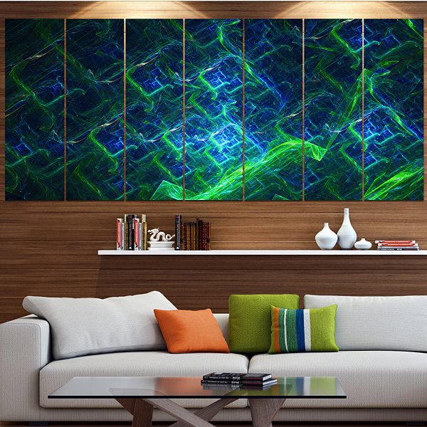 Green Blue Electric Lightning Abstract Art On Canvas - 5 Panels