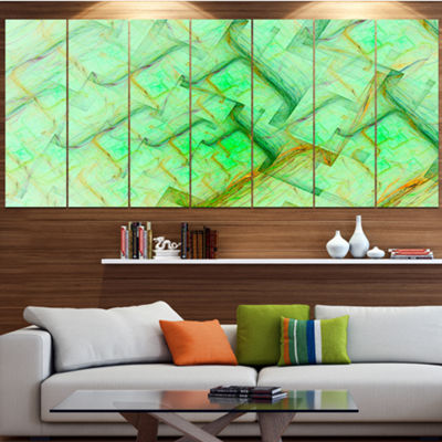 Light Green Electric Lightning Abstract Art On Canvas - 4 Panels